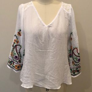 Gloria Lance Sheer White Embroidered Top
